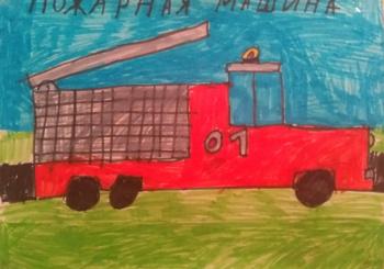 Рисунки от 3 класса по итогам встречи с пожарными